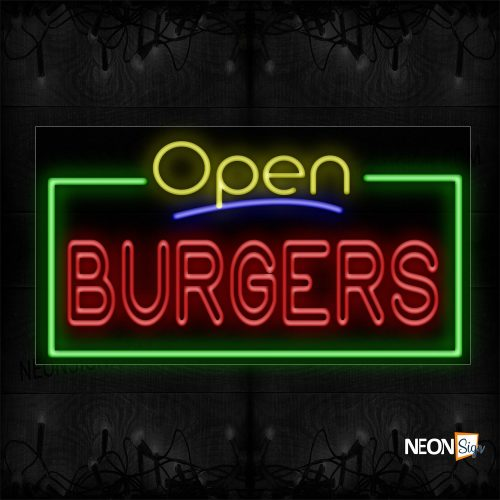 Image of 15473 Open Burgers (Double Stroke) With Green Border Neon Sign_20x37 Black Backing