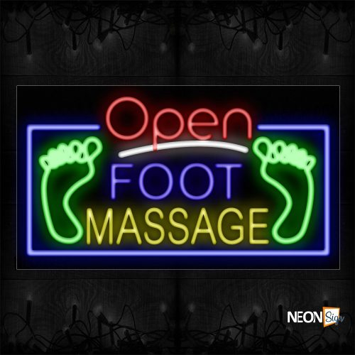 Image of Open Foot Message With Logo And Blue Border Neon Sign