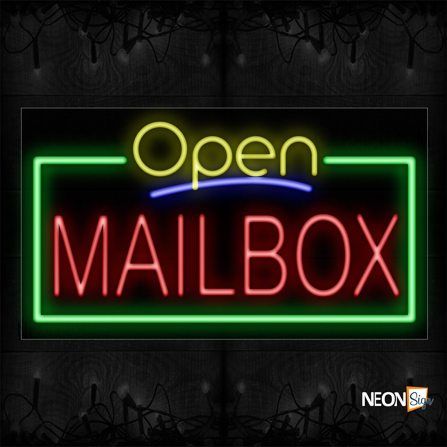 Image of Open Mailbox With Green Border Neon Sign