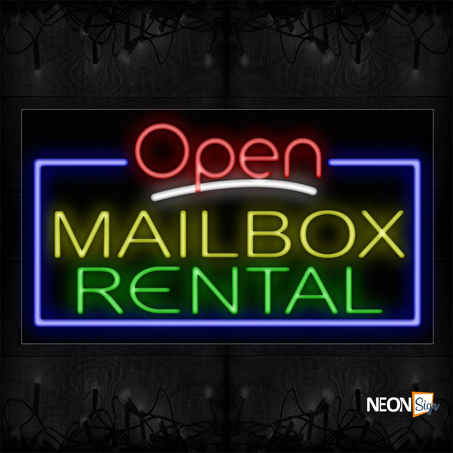 Image of Open Mailbox Rental With Blue Border Neon Sign