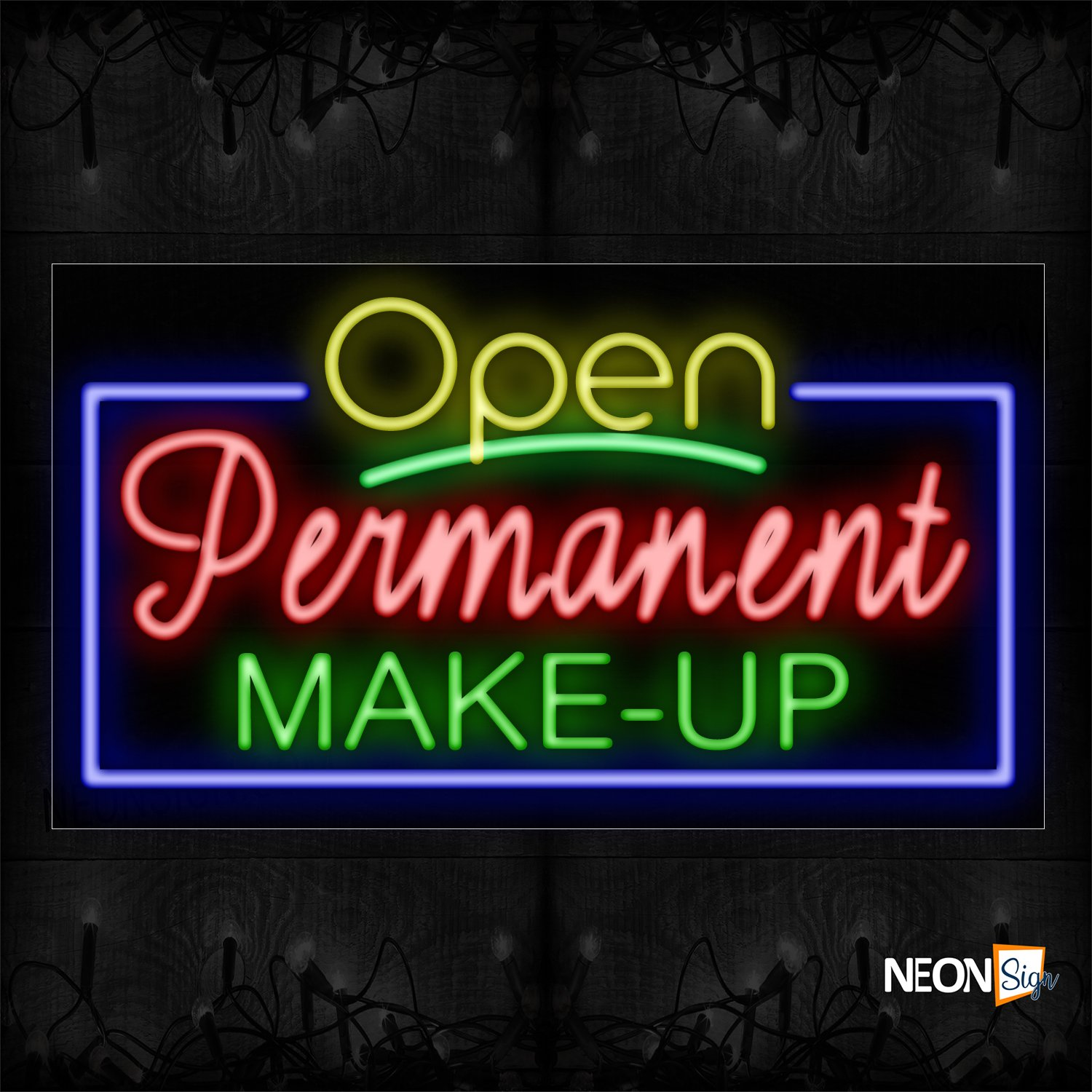 Image of Open Permanent Makeup With Blue Border Neon Sign