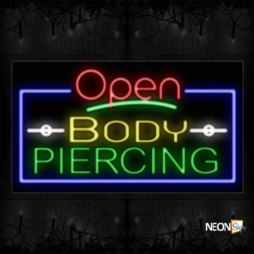 Image of Open Body Piercing With Blue Border Neon Sign