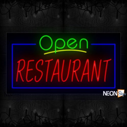 Image of Open Restaurant With Blue Border Neon Sign