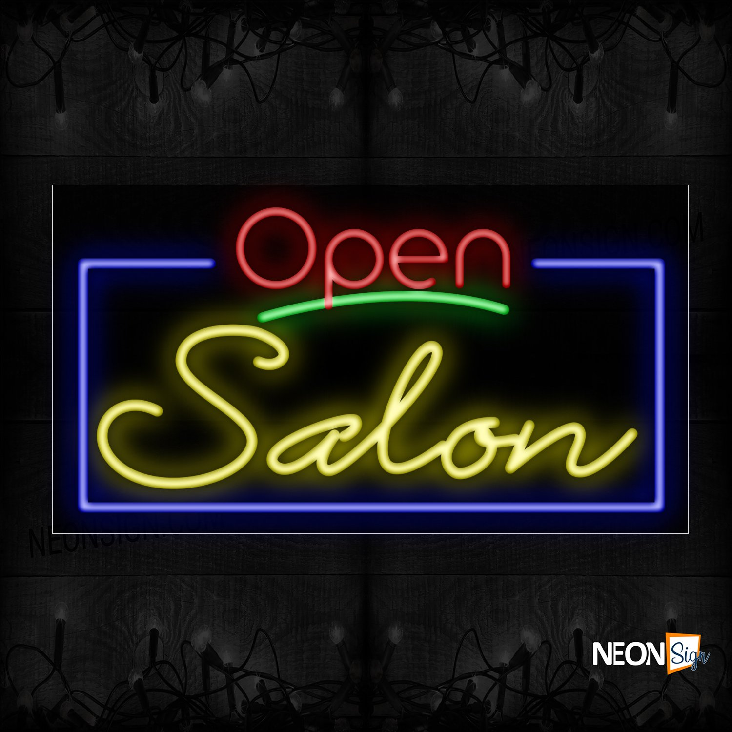 Image of Open Salon With Blue Border Neon Sign