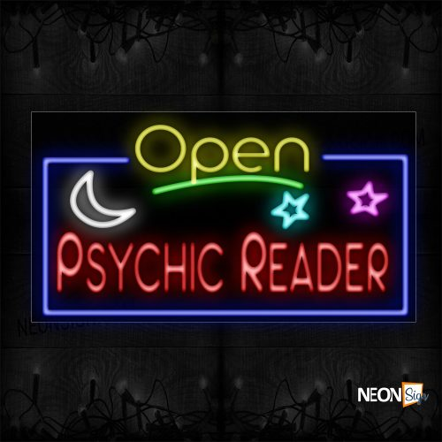 Image of 15600 Open Psychic Reader With Blue Border And Logo Neon Sign_20x37 Black Backing