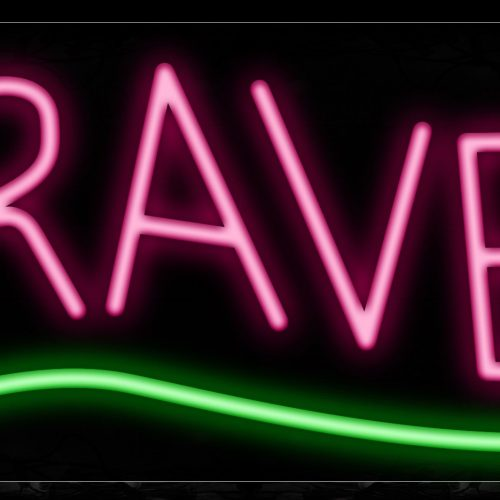 Image of Travel In Pink With Green Line Neon Sign