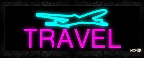 Image of Travel In Pink And Plane Logo Neon Sign