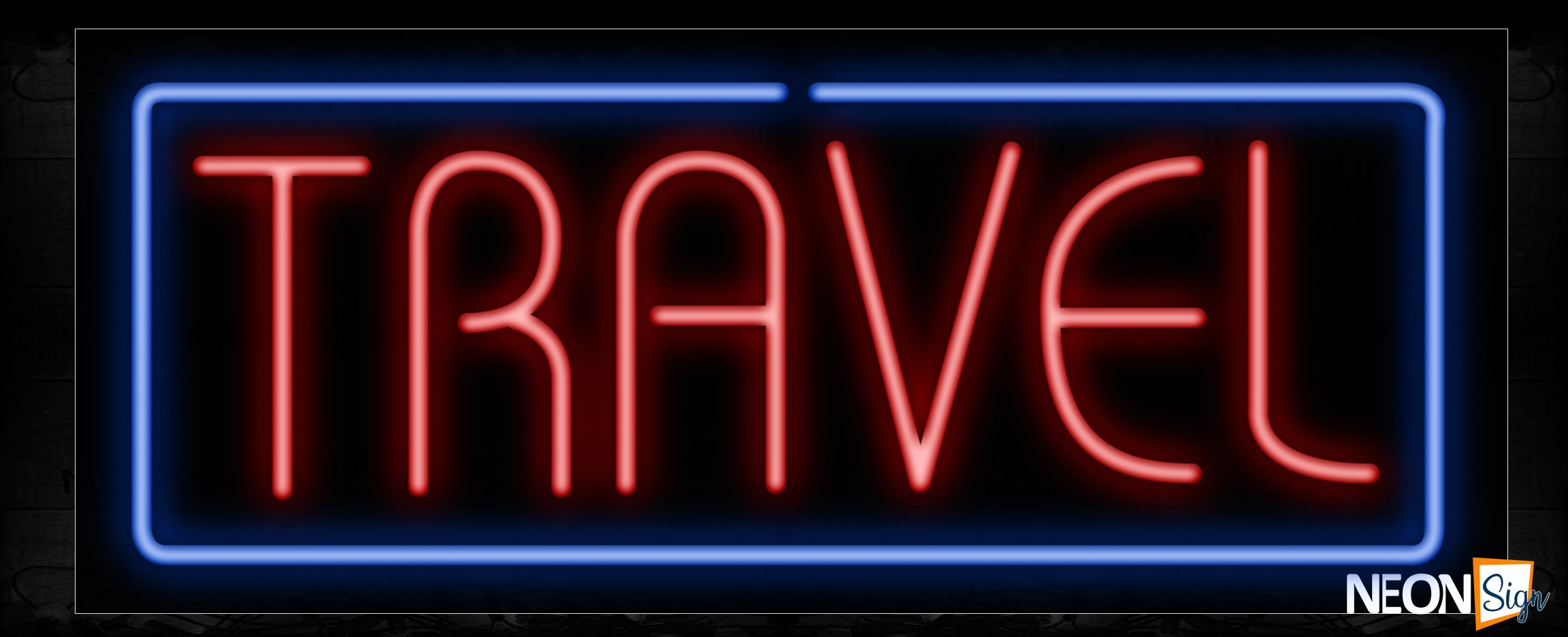 Image of Travel With Border Neon Sign