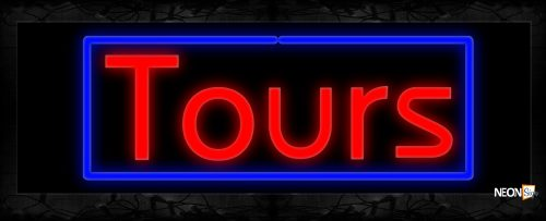 Image of Tours In Red With Blue Border Neon Sign
