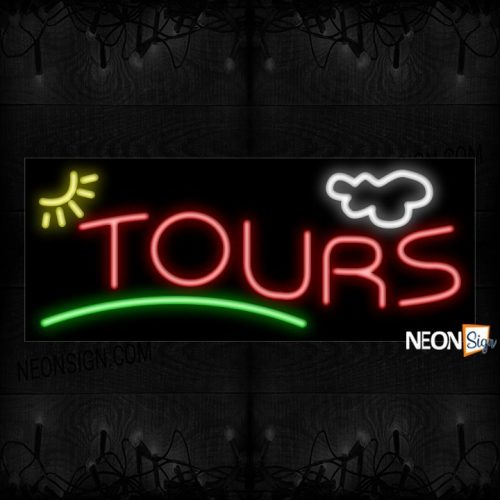 Image of Tours In Red With Green Line Neon Sign