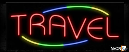 Image of Travel In Red With Colorful Arc Border Neon Sign