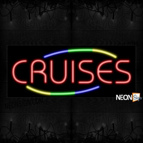 Image of Cruises In Red With Colorful Arc Border Neon Sign