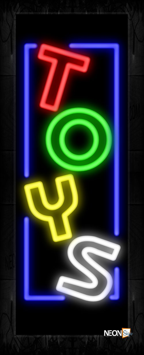 Image of Colorful Double Stroke Toys With Blue Border Neon Sign