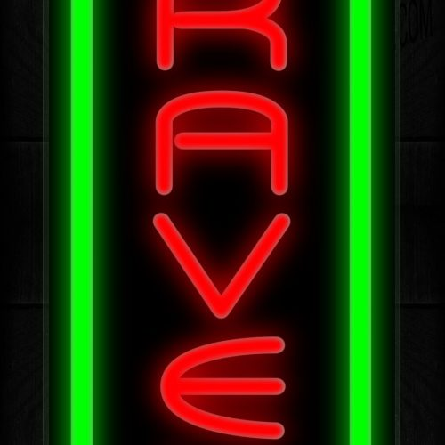 Image of Travel In Red With Green Border (Vertical) Neon Sign