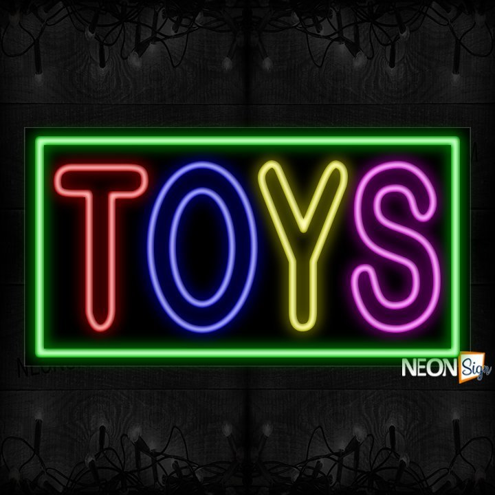 Image of Double Stroke Toys With Green Border Neon Sign