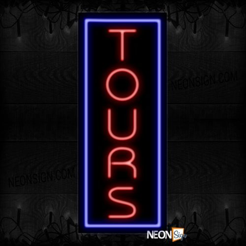Image of Tours In Red With Blue Border (Vertical) Neon Sign