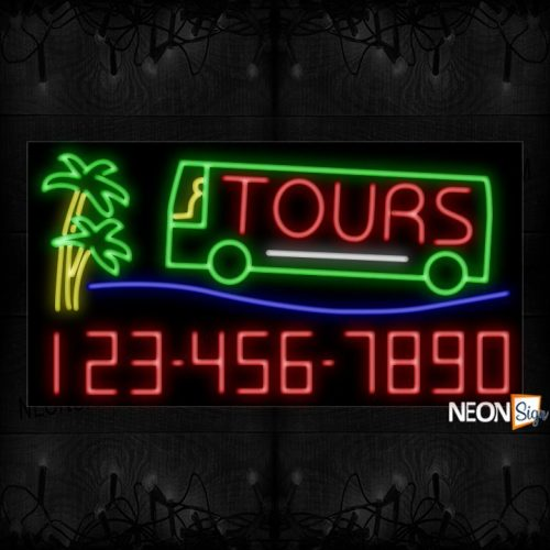 Image of Tours With Bus And Contact No Neon Sign