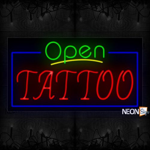 Image of 15582 Open Tattoo with blue border Neon Signs 20x37 Black Backing