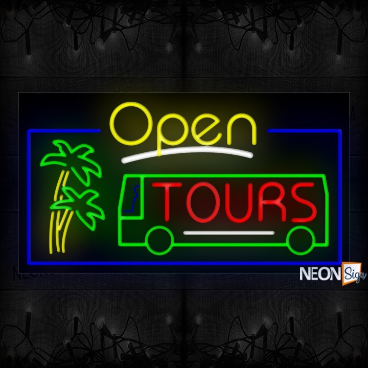 Image of Open Tours With Logo And Blue Border Neon Sign