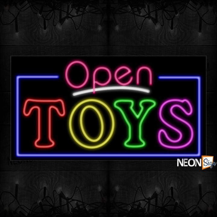 Image of Open Colorful Toys With Border Neon Sign