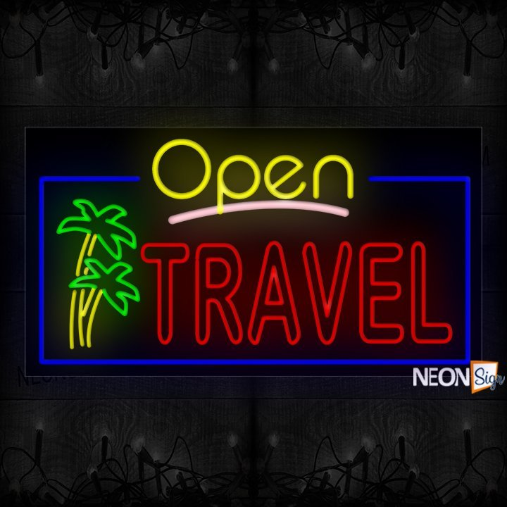 Image of Open Travel (Double Stroke) With Logo And Blue Border Neon Sign