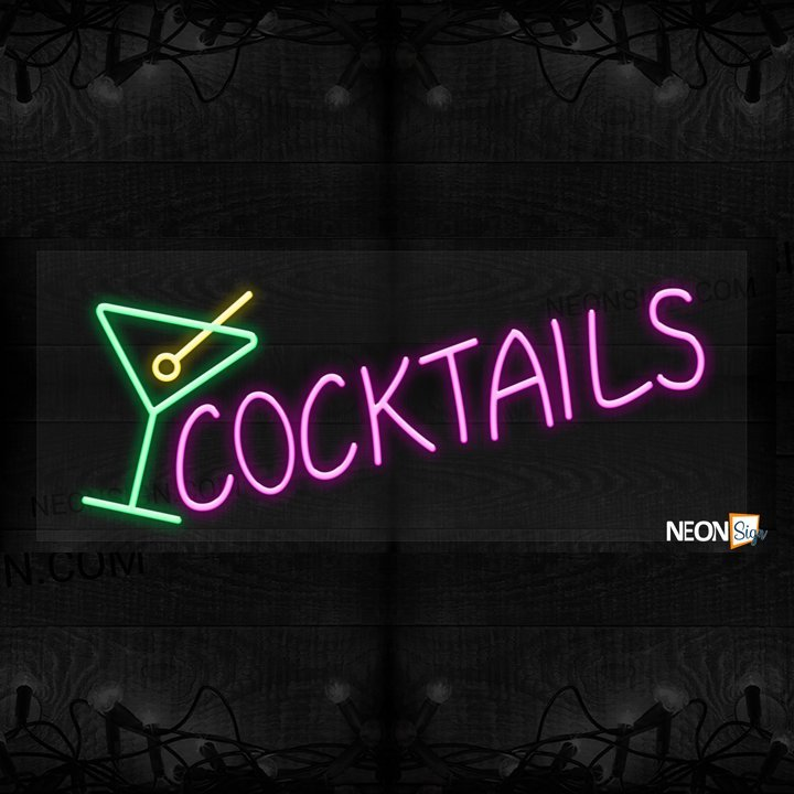 Image of Cocktails with wine glass logo LED Flex