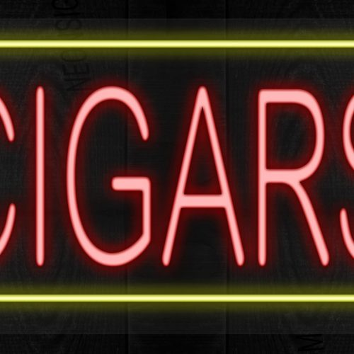 Image of Cigars with yellow border LED Sign