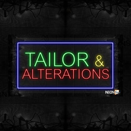 Image of Tailor & Alterations with blue border LED Flex