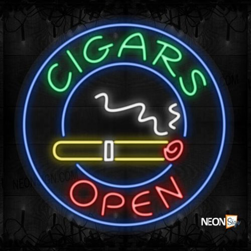 Image of Cigars Open with logo and blue circle border LED Flex
