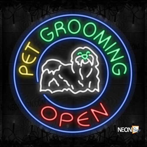 Image of Pet Grooming Open with dog logo and blue circle border LED Flex