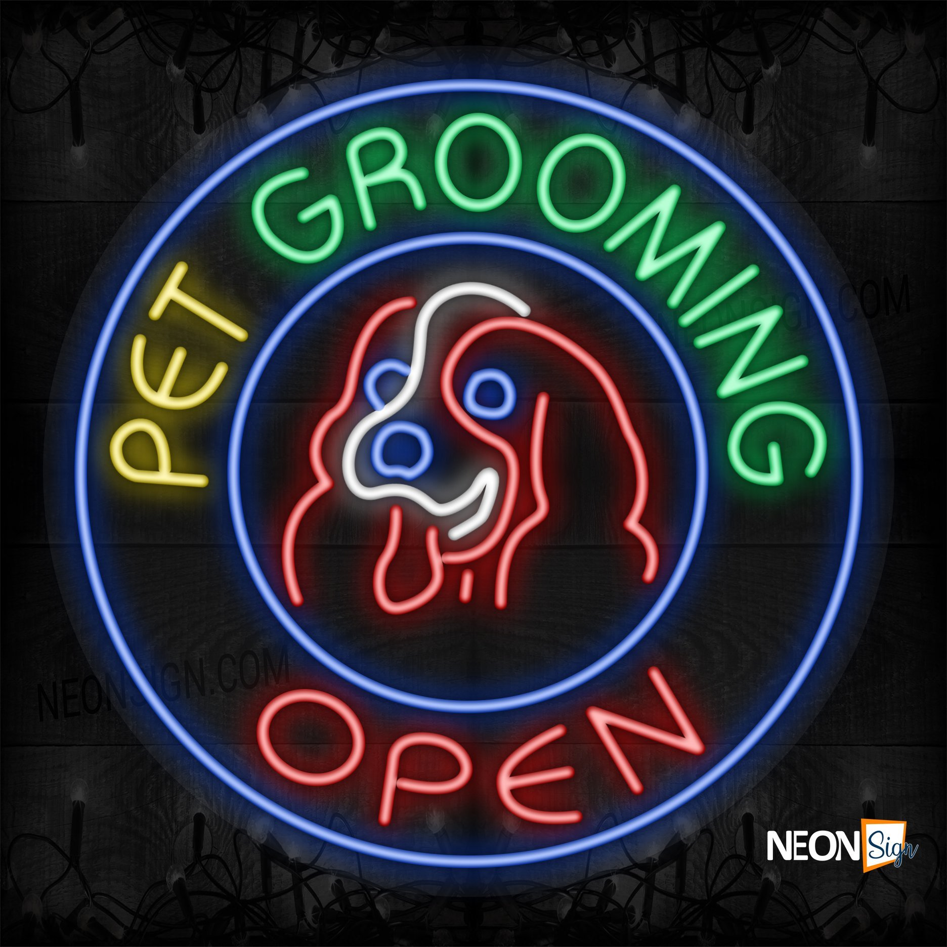 Image of Pet Grooming Open with red dog logo and blue circle border LED Flex
