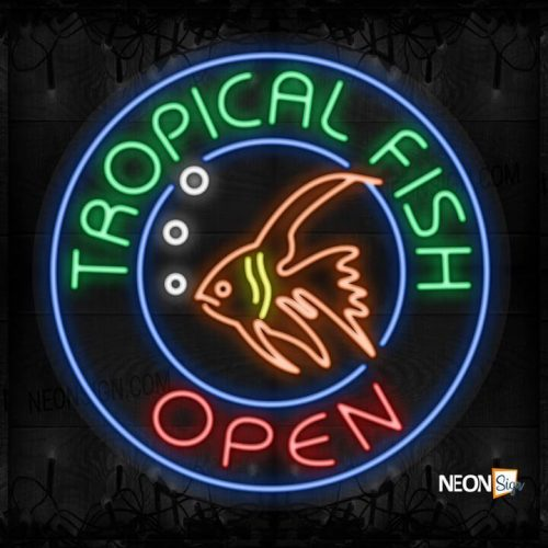 Image of Tropical Fish Open with fish logo and blue circle border LED Flex