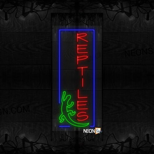 Image of Vertical Reptiles with Blue Border and Lizard LED Flex