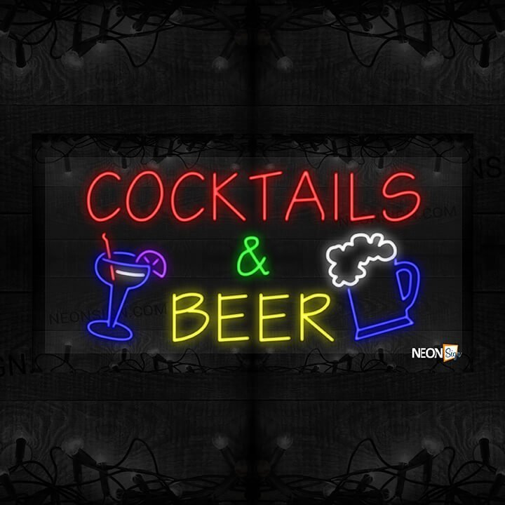 Image of Cocktails and Beer with Cocktail Glass and Beer Mug LED Flex