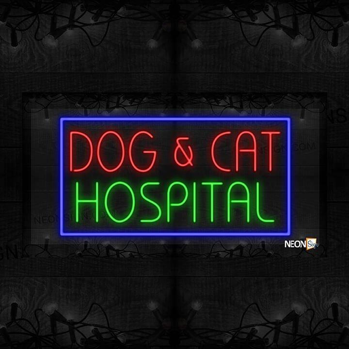 Image of Dog & Cat Hospital in Blue Border LED Flex