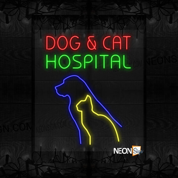 Image of Dog & Cat Hospital with Dog and Cat Silhouette LED Flex
