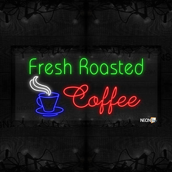 Image of Fresh Roasted Coffee with a Cup of Hot Coffee LED Flex