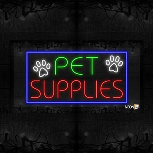 Image of Pet Supplies with Paws in Blue Border LED Flex