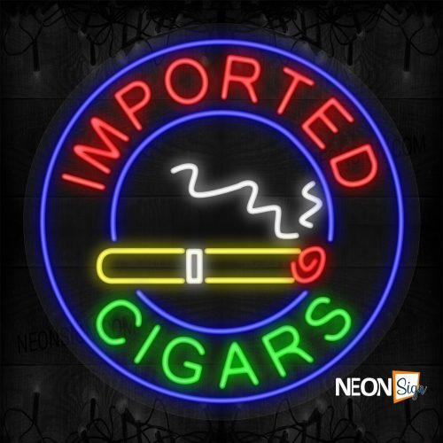 Image of Imported Cigars with a Cigar Blue Round Border LED Flex