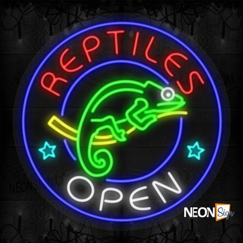 Image of Reptiles Open with Chameleon and Stars Blue Round Border LED Flex