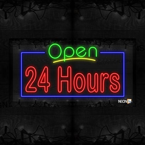 Image of Open 24 hours with Blue Border LED Flex