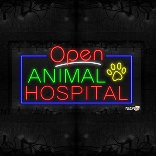 Image of Open Animal Hospital with Paw Image and Blue Border LED Flex