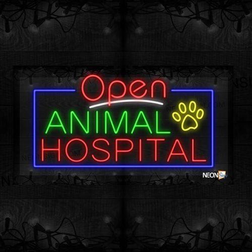 Image of Open Animal Hospital with Paw Image and Blue Border LED Flex