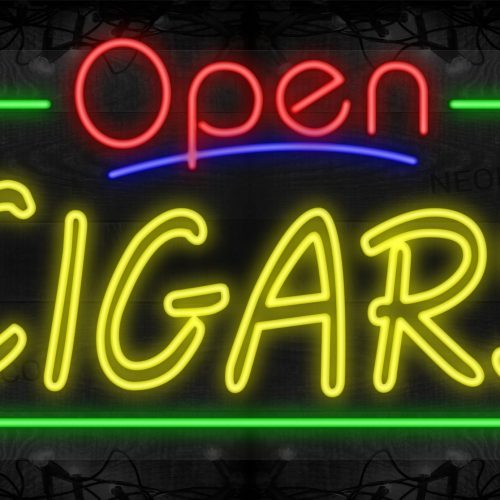 Image of Open Cigars (Double-Stroke) with Green Border LED Flex
