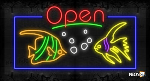 Image of Open with Two Fish Images, Bubbles, and Blue Border LED Flex SIgn
