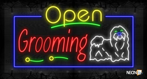 Image of Open Grooming with Dog Image Decorative Lines and Blue Border LED Flex Sign