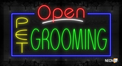 Image of Open Pet Grooming with Blue Border LED Flex Sign