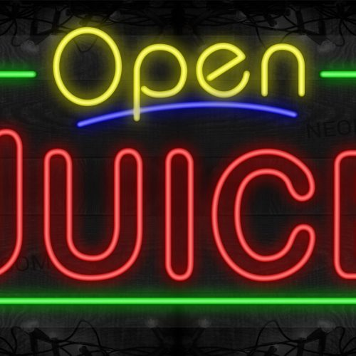 Image of Open Juice (Double Stroke) with Green Border LED Flex Sign