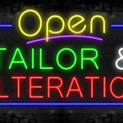 Image of Open Tailor & Alteration with Blue Border LED Flex Sign