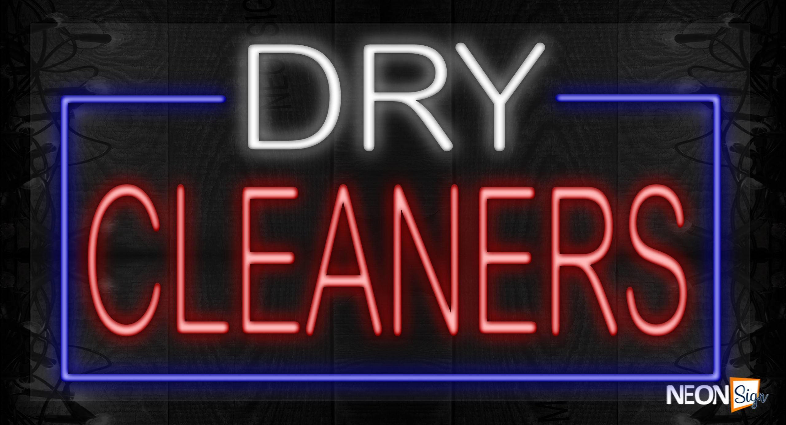 Image of Dry Cleanerss in white and red with blue border LED Flex
